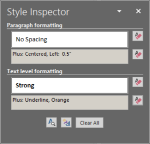 An image of the Style Inspector pane